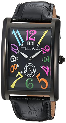 Ritmo Mundo Swiss Quartz Stainless Steel and Leather Casual Watch, Color:Black (Model: 2621/5)