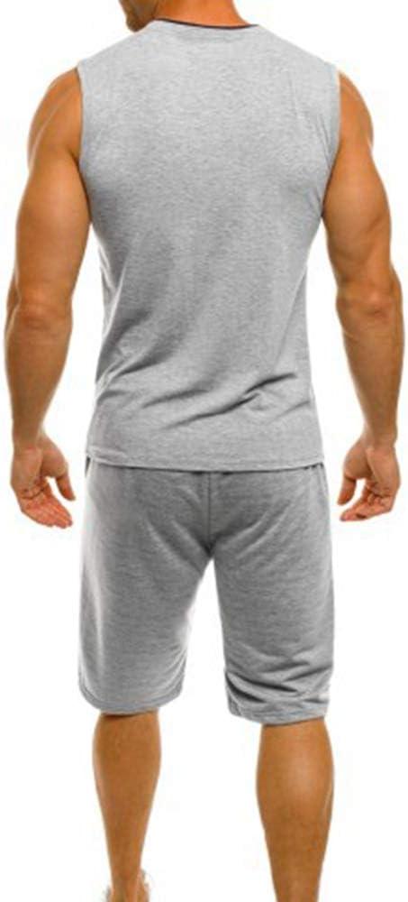 OEAK Survetement Homme Ensemble /Ét/é Short Sport et Sweatshirt sans Manches Fitness 2 Pi/èces pour Jogging Running Gym Football Basketball