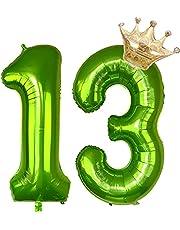 Cymeosh Ballonnen nummer 13, enorme folieballon cijferballon 13, helium ballonnen kroon gouden ballonnen opblaasbaar, mirlar ballon nummer 13 groen voor verjaardag, bruiloft, jubileum partydecoratie (100 cm)