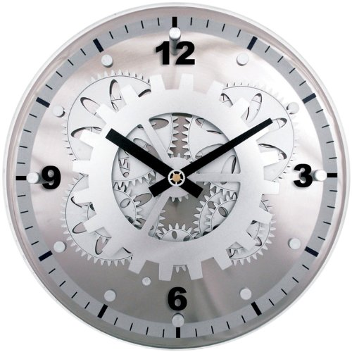 Maples Clock GCLY-22W 12 inch Moving Gear Wall Clock with Wo