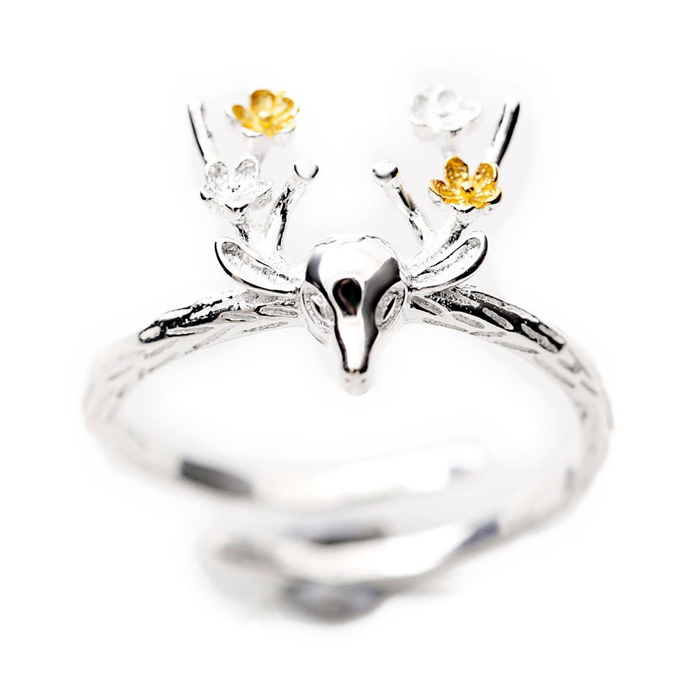 Fablcrew Elk Bague Argent Ouverture Bague réglable pour femmes filles Amour Cadeau Bijoux Accessoires