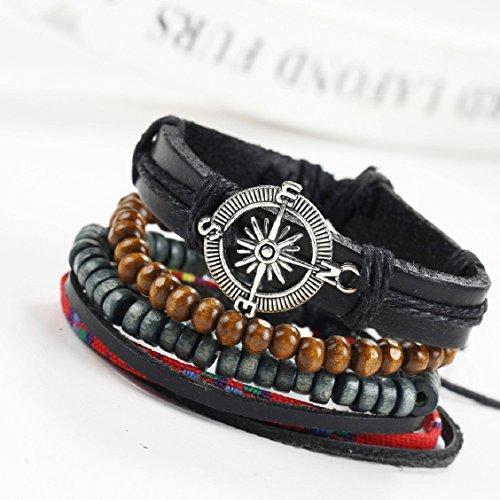 Naladoo New Men's Braided Leather Stainless Steel Cuff Bangle Bracelet Wristband - Wristband Opener Bottle
