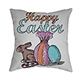 Pet1997 Happy Easter Linen Pillowcase, Festival Rabbit Pillow Case Cushion Cover, Easter Sofa Bed Home Decoration, Luxury Bedding,18 X18 Inch (E)