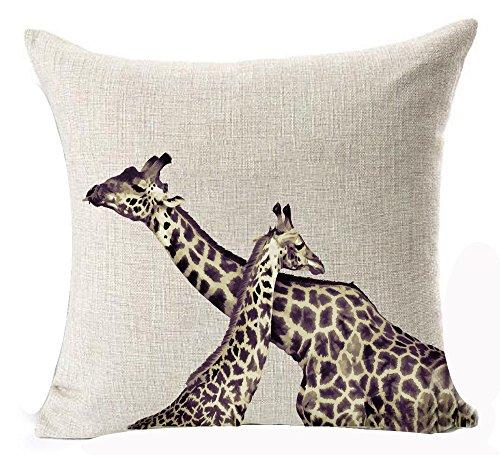 Queen's designer Creative Ink Sweet Giraffe Couple Cross Neck Sweetheart Cotton Linen Decorative Throw Pillow Case Cushion Cover Square 18