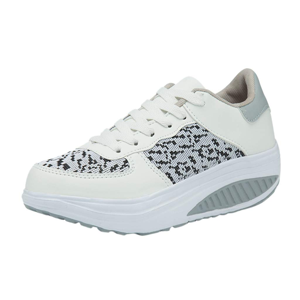 ❤SSYongxia❤ Fashion Girl Women's Platform Wedges Tennis Walking Sneakers Comfortable Lightweight Platform Shoes White