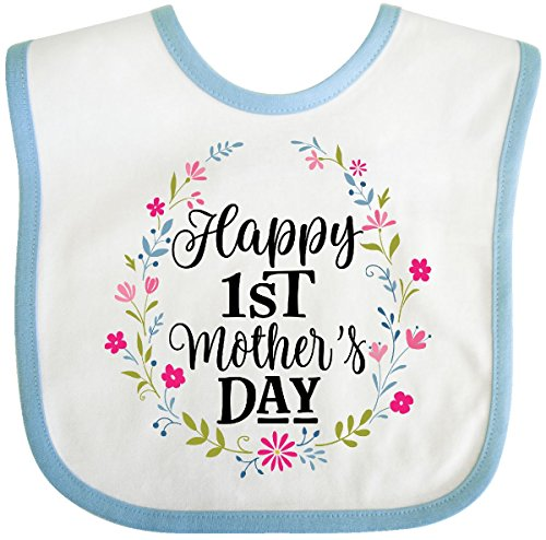 Inktastic - Happy 1st Mothers Day Outfit Girls Baby Bib White/Blue -
