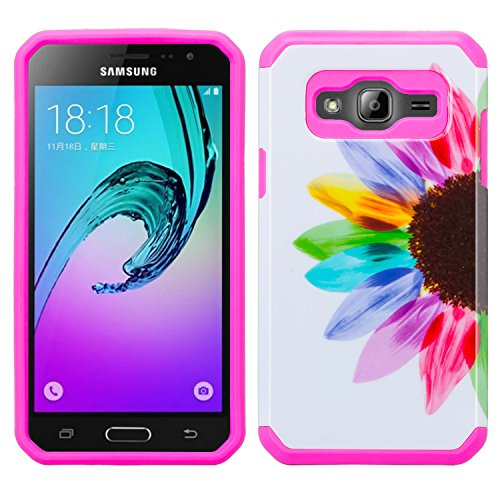 Wydan Case for Samsung Galaxy J3 2016, J3V, Sol, Sky, Express Prime, Amp Prime - Slim Hybrid Protective PC TPU Phone Case Shock Resistant Absorbant Tough Tuff Thin Fusion Cover - Colorful Sunflower