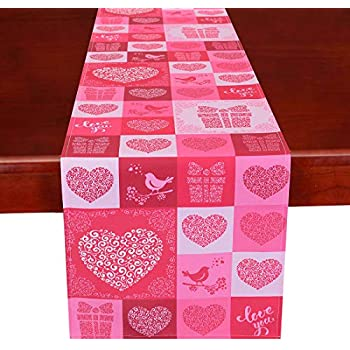 Simhomsen Printed Rose Pink Table Runner for Valentine's Day, Mother's Day, Decorative Scarf for Wedding Anniversary, Marriage Proposals, Engagements, Romantic Events or Parties Rectangle 15 × 87 Inch