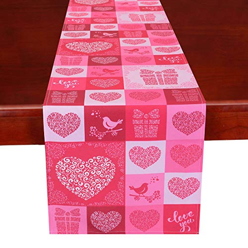 Simhomsen Printed Rose Pink Table Runner for Valentine's Day, Mother's Day, Decorative Scarf for Wedding Anniversary, Marriage Proposals, Engagements, Romantic Events or Parties Rectangle 15 × 53 Inch