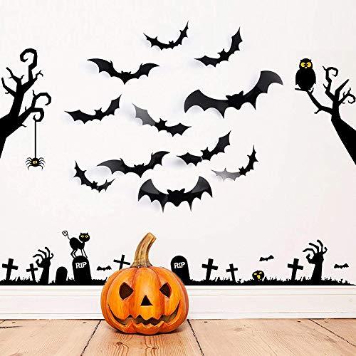 Ytzada 36 Pcs 3D Bats Halloween Wall Stickers Decor, Party Supplies Scary Decal, Halloween Eve Window Decoration -