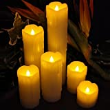 "Led Flameless Candles,TOPBRIGHTTRADE Led Tealight Pillow Candles,Set of 6, 2"" WIDE and 2""- 9"" TALL,Ivory Color Wax and Amber Yellow Flickering for Weddings and Parties and gifts,Batteries Included"