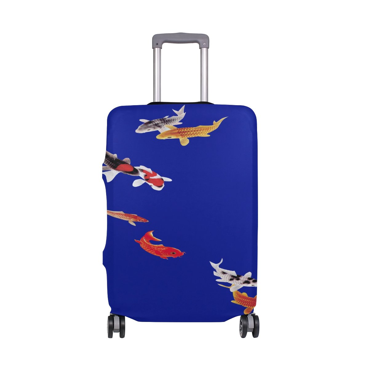 Beautiful Koi Carp Fish Goldfish Fine Travel Luggage Cover Washable Spandex Baggage Suitcase Cover Protector Carry On Covers Fits S 18-20 in