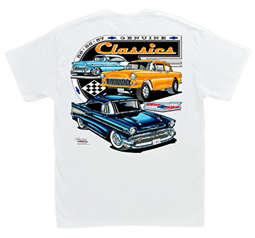 Hot Shirts Chevrolet Genuine Classics White T-Shirt: Large - 1955 1956 1957 Bel-Air 210 150 Delray Gasser Chevy