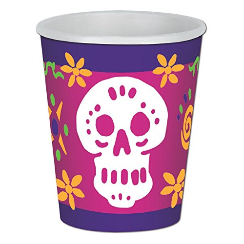 (Club Pack of 96 Multicolor Day Of The Dead Beverage Skull Disposable Paper Cups 9Oz.)