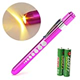Zitrades Nurse Penlight Reusable Medical LED Pen Light Warm White Purple Color for Nurses Doctors with Pupil Gauge Free Battery