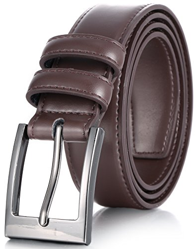 Marino's Men Genuine Leather Dress Belt with Single Prong Buckle - Chocolate Brown - 32