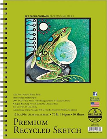 Bee Paper Recycled Sketch Pad, 9-Inch by 12-Inch - Recycled Paper Pads