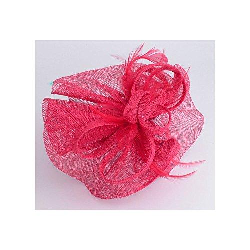 LeahWard®sac de femme Styliste modéliste Flower Feather Fascinator On Comb / Headband / Clip Hat Horse Racing Wedding Fête Hen Fête (CWHA005-Rose avec Headband & Clip)
