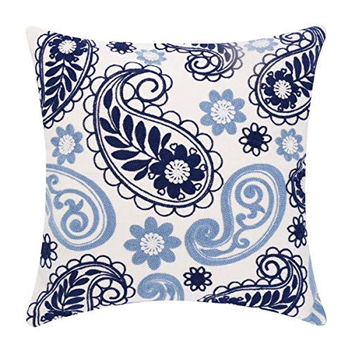 baibu Embroidered Throw Pillows Covers, Decorative Paisley Throw Pillow Case Cushion Cover for Couch Sofa 1PC (Navy Blue…