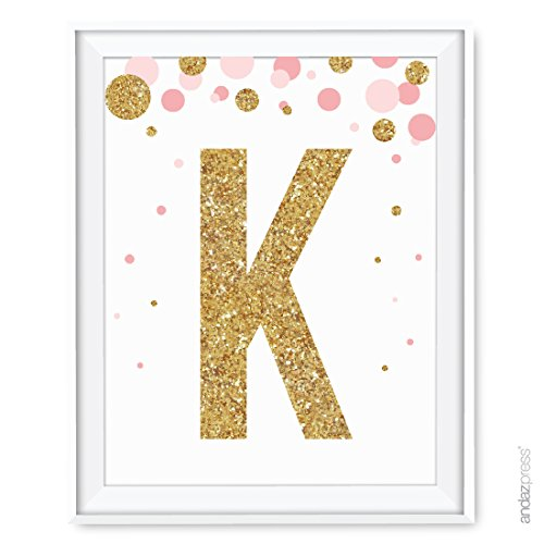 Andaz Press Nursery Wall Art Decor, Pink and Printed Gold Gl
