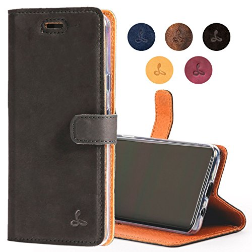 - Google Pixel 2 Case, Leather Wallet Case in Nubuck Leather with Credit Card/Note Slot, from The Snakehive Vintage Collection (Black)