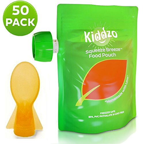 Reusable Food Pouch 6oz (50 Pack) with Spoon - Baby Squeeze Storage Pouches for Homemade and Organic Purees. BPA Free. from Kiddzo