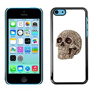 Shell-Star Arte & diseño plástico duro Fundas Cover Cubre Hard Case Cover para Apple iPhone 5C ( White Skull Pattern Rose Floral Bone )