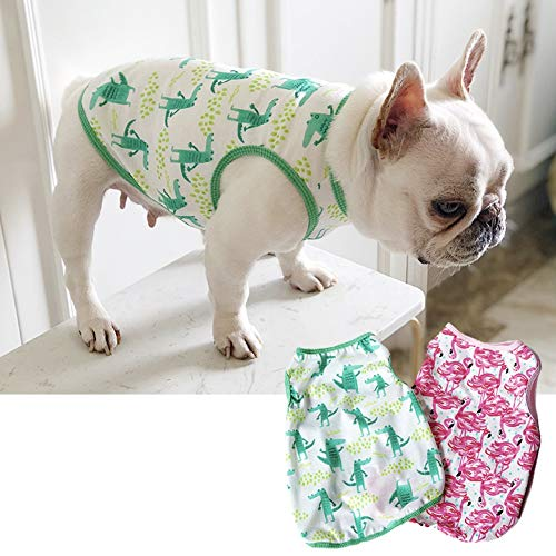 CheeseandU Pet Dog Summer Vest, 2019 Cute French Bulldog Dog Pure Cotton Fashion T-Shirt Breathable Soft Sleeveless Top Summer Dog Clothes for Small Medium Dogs Breeds Cats, Green -