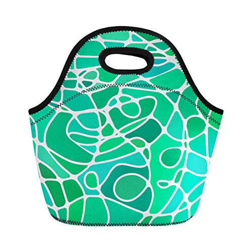 - Semtomn Neoprene Lunch Tote Bag Colorful Beautiful Abstract Stained Glass Mosaic Green and Teal Reusable Cooler Bags Insulated Thermal Picnic Handbag for Travel,School,Outdoors,Work