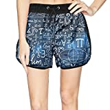 LUWI Women's Galaxy Mathematical Signs Formula Beach Board Shorts Quick Dry Swim Trunks