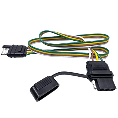 "CARROFIX Trailer 4 Wire Plug 32"" inch 4 Pin Flat Wire Extension Male & Female Connector: Automotive"
