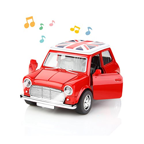 Diecast Car Classic Model Vehicle Toys Pull Back and Go with Lights and Music Red