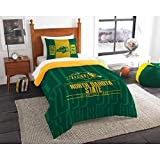 2pc NCAA North Dakota Fighting Hawks Comforter Twin Set, Yellow, Team Spirit, Fan Merchandise, Unisex, Team Logo, Green, College Basket Ball Themed, Sports Patterned Bedding