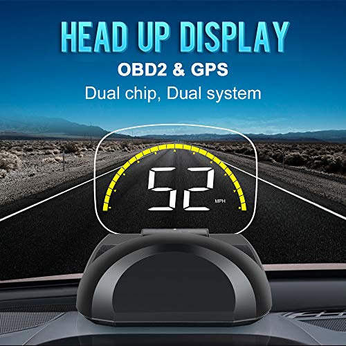 VJOYCAR C700s Hud Head Up Display Car Speed Projector, OBDii/GPS Dual Interface, Speed in MPH KM/H, Engine RPM, Water Temperature, Universal for Pick-Up Bus Truck Motorcycle All Vehicles