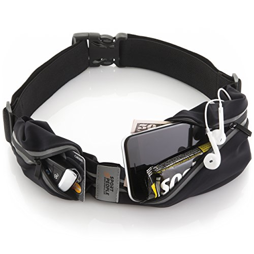 Sport2People Running Pouch Belt, USA Patented, Runner Waist Pack iPhone X 6 7 8 for Men and Women (black, one size, 2 pockets) ()