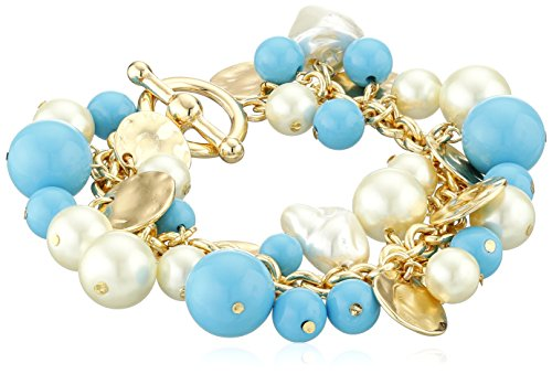 Kenneth Jay Lane Multi-Strand Gold Chain with Turquoise Color Pearl Beads Charm Bracelet