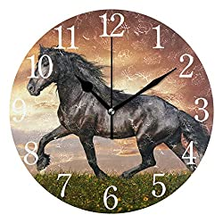 senya Wall Clock Running Horse Silent Non Ticking Operated Round Easy to Read Home Office School Clock