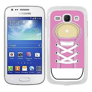 Funda carcasa para Samsung Galaxy Ace 3 diseño zapatilla cordones color rosa borde blanco