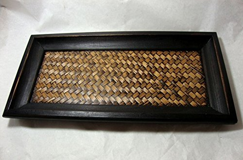 MANGO WOOD BAMBOO WOVEN TRAY SERVING SPA SUPPLIES SIZE 4.75