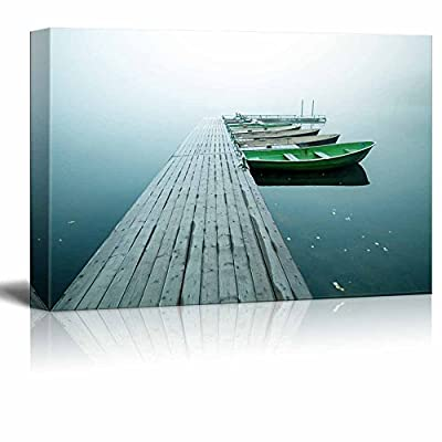 Beautiful Scenery Landscape of Small Pier with Boats on Lake in Cold Still Foggy Morning in Autumn Home Deoration ing ped - Canvas Art Wall Art - 12