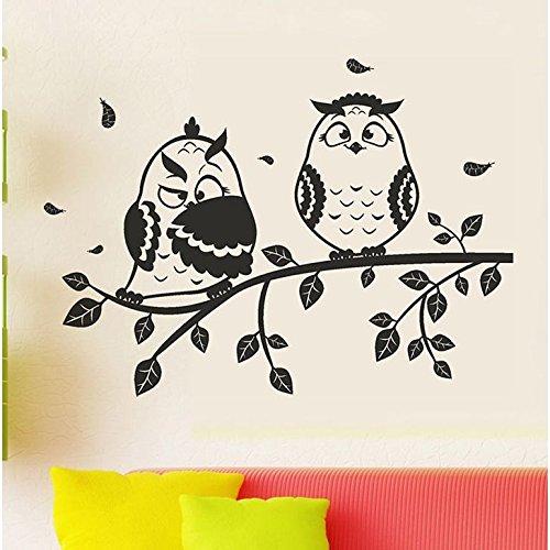 Decals Design 'Owl Couple' Wall Sticker (PVC Vinyl, 45 cm x 60 cm, Black)