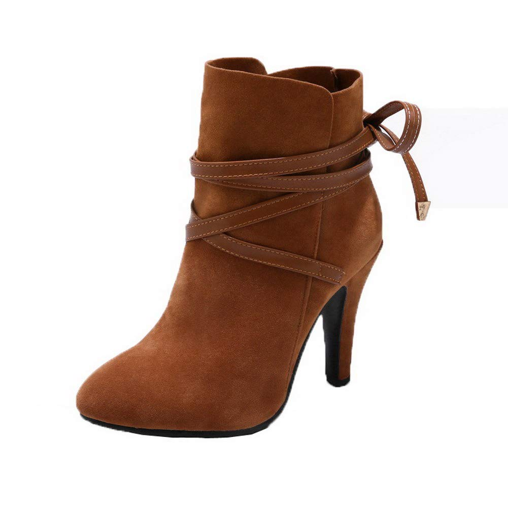AalarDom Womens Frosted Round-Toe Solid Low-Top High-Heels Boots TSDXH115136