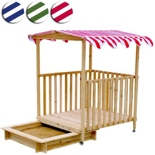 Sandkasten mit Veranda (verschiebbar) Holz Spielhaus mit Dach 115x115x140cm (Farbwahl)