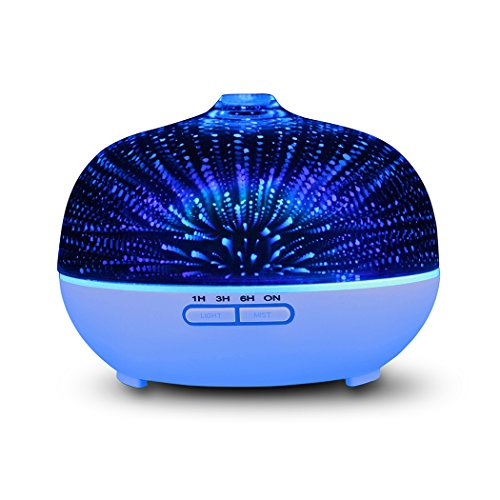 YCIND Essential Oil Diffusers Cool Mist Ultrasonic Humidifiers Glass 3D Stars Fireworks 7 Colors LED Light Auto Shut-off for Office Home Bedroom - Material 3d Glasses