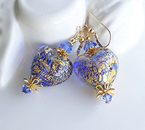 Blue and Gold Murano Glass Heart Earrings (Sapphire Drop Gold)