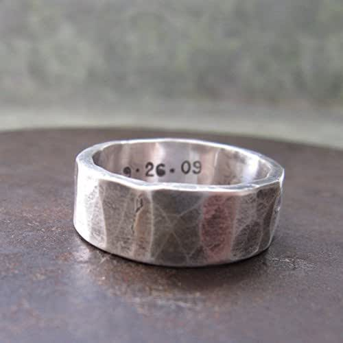 Amazon.com: 8 Mm Custom Rustic Wedding Band, Sterling