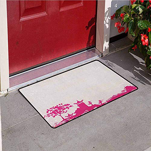 Gloria Johnson Asian Front Door mat Carpet Traditional Pagoda in Pastel Colors Centre of Inner and Outer Peace Spiritual Theme Machine Washable Door mat W15.7 x L23.6 Inch Pink - Bird Pagoda