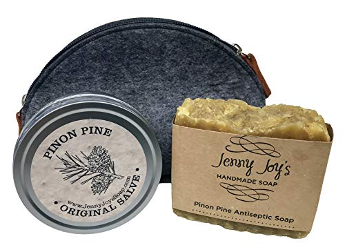 Pinon Pine Drawing Salve 4 oz & Pinon Pine Soap Natural Antibacterial Healing of The Southwest. Uses: Minor Burns, Psoriasis, Drawing Salve, Infections & Dry Skin Gift Set Bundle by Jenny Joy's Soap