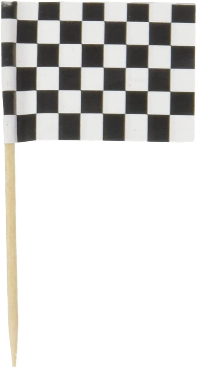 Levado 60104 50-Pack Checkered Flag Picks, 21/2-Inch,Black/White