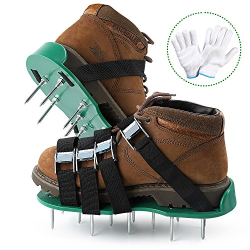Tonbux Lawn Aerator Shoes, 26 Spikes and 4 adjustable straps Ready for aerating your yard, lawn, roots & grass, Heavy Duty Spiked Sandals Shoes with Garden Work Gloves by Tonbux